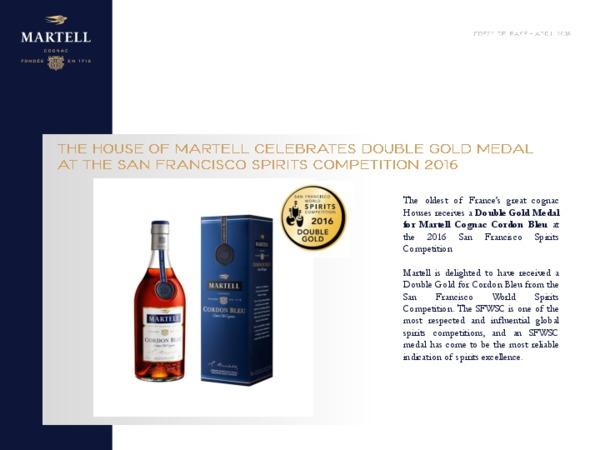 Martell Cordon Bleu Double Gold Medal press release
