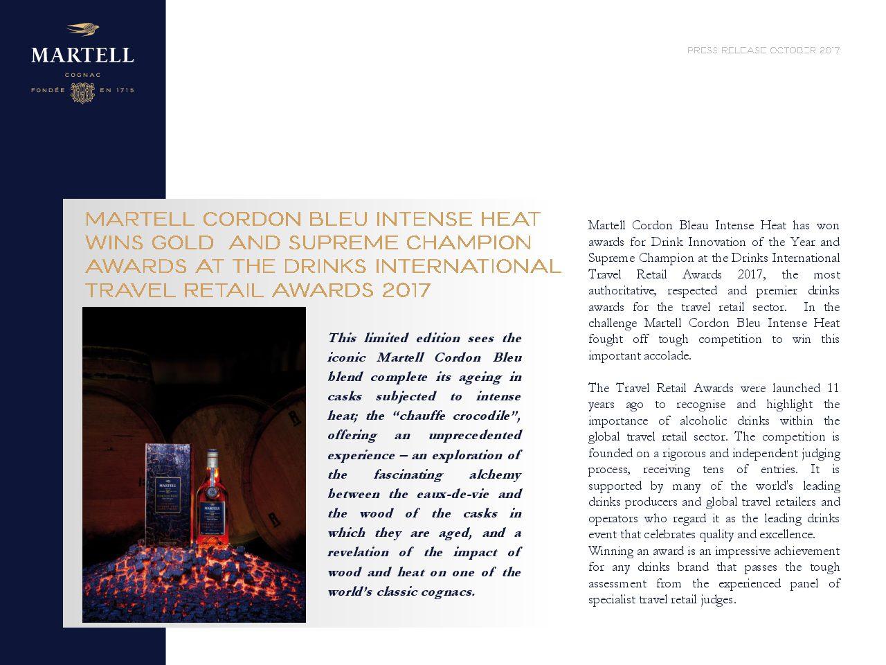 Martell Cordon Bleu Intense Heat Drinks International Award 2017