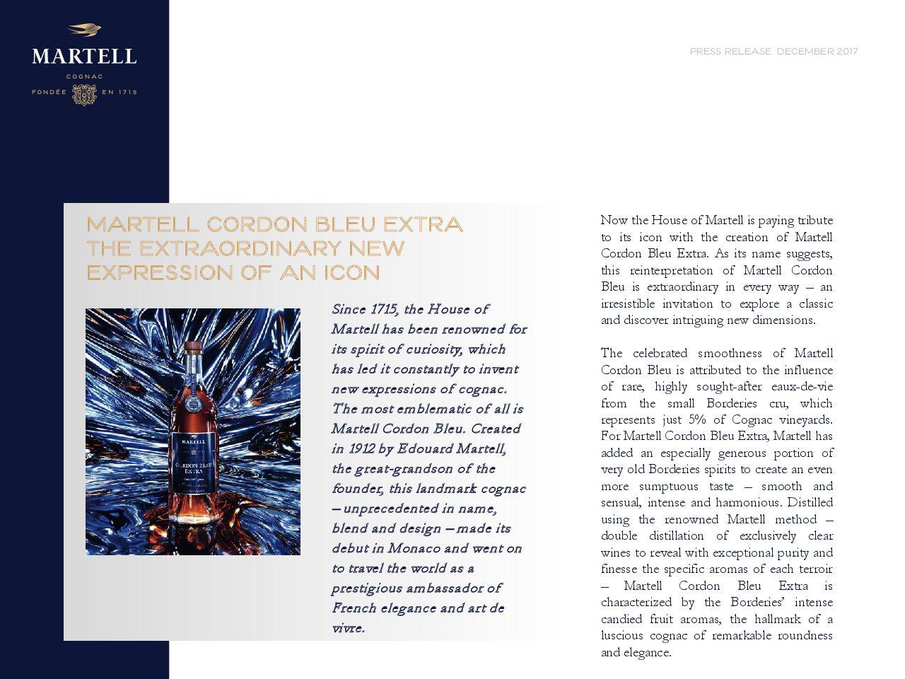 Martell Cordon Bleu Extra Press Release