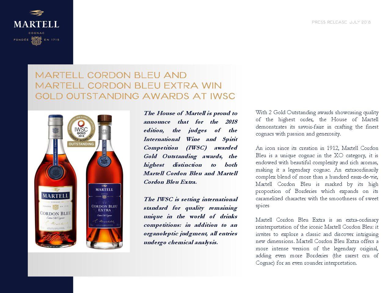 Press Release Martel Gold awards at IWSC 2018