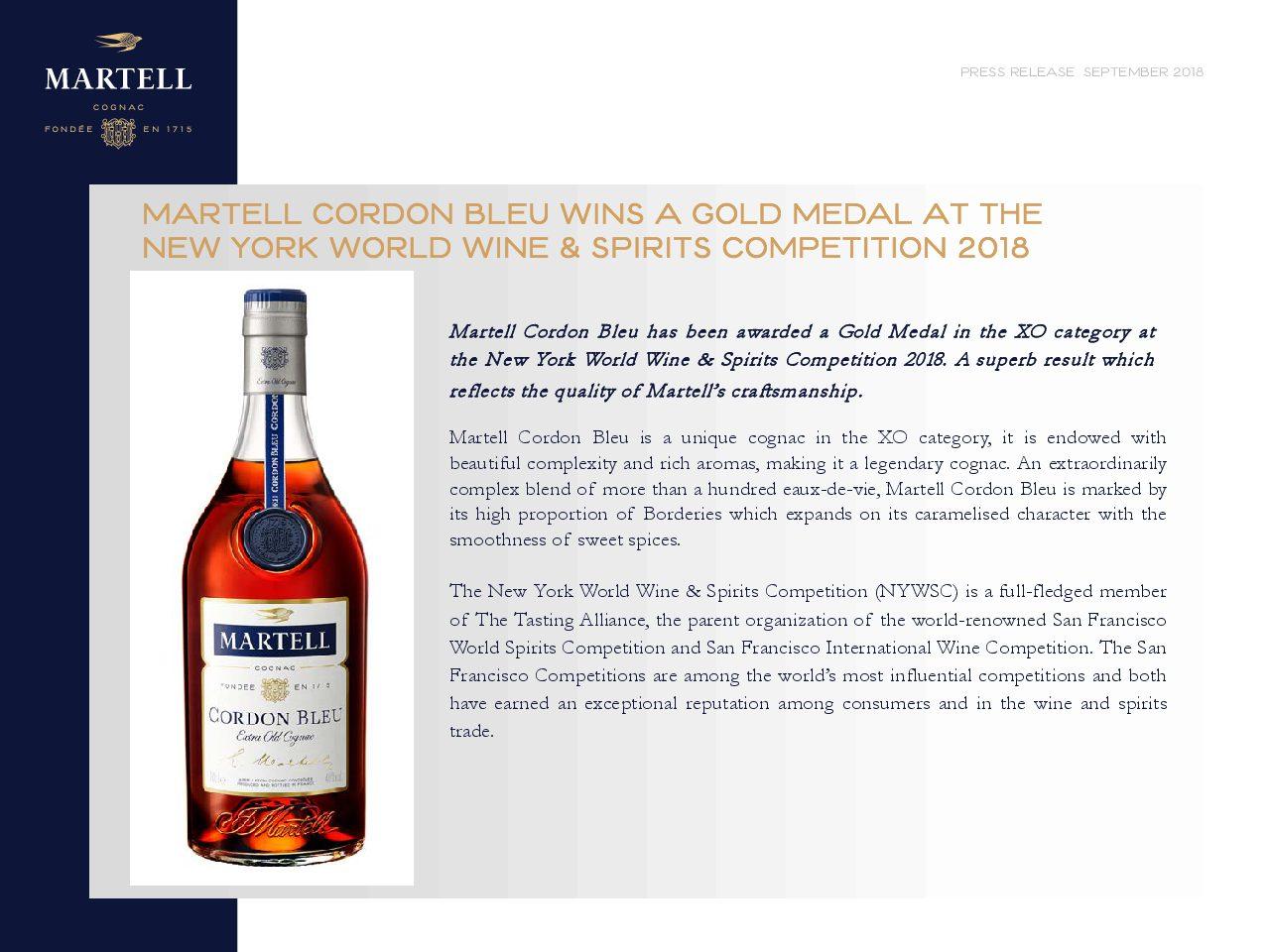 Press Release Martell Cordon Bleu Wins Gold Medal at the NYWSC